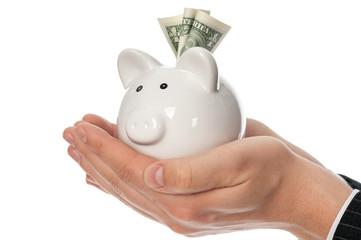 Holding piggy bank