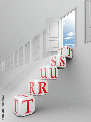 trust red word blocks up to open door