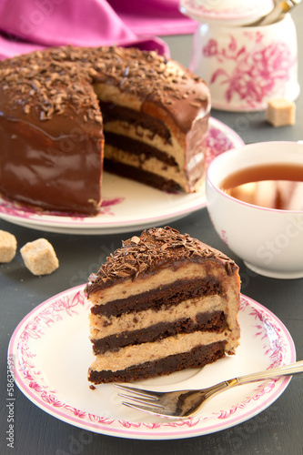 Chocolate cake (brownie) with chestnut cream.