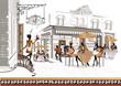 Obrazy na płótnie, fototapety, zdjęcia, fotoobrazy drukowane : Series of street cafes with a musician and a cook