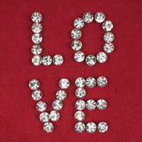 "The word "" love"" made by ​​with rhinestones"
