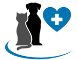 veterinarian icon with blue heart, pets and cross