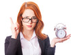 Redhead girl with clock