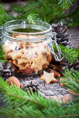 Ginger Cookies Stars with Green fir