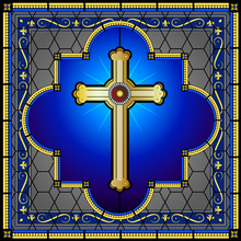 Witraż krzyż z deseniem