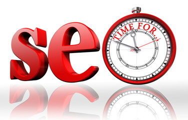 seo red word and clock