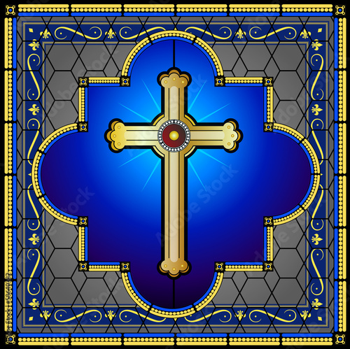 Obraz na Plexi Stained glass cross with patterned background