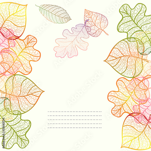 Ornamental background with art autumn leaves