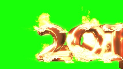 Year 2014 Year Catching Fire with a green background