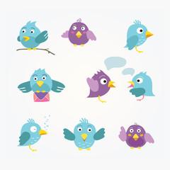 Nine blue and violet birds