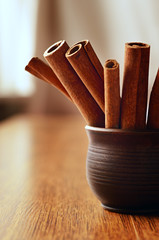 Stick cinnamon in a pottery container