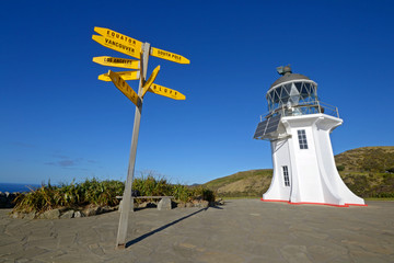 Cape Reinga lighthouse and signposts