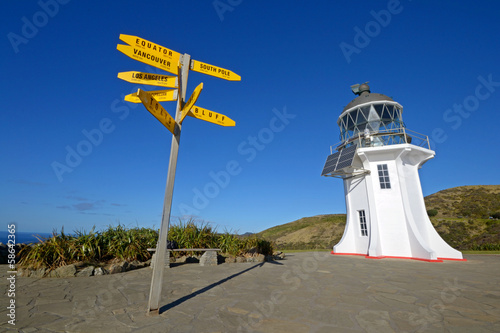 Cape Reinga lighthouse and signposts