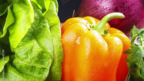Fresh vegetables on black ,vegetable still life,