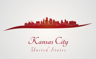 Kansas City skyline in red