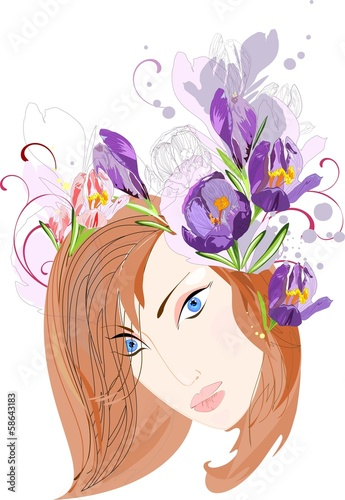 Beautiful girl with a circlet of flowers