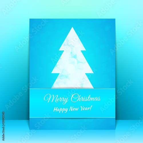 Blue Greeting card background with Christmas tree