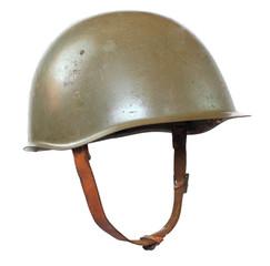Retro military helmet on a white background.