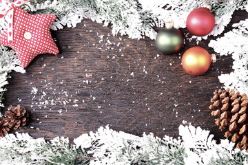 christmas card on wooden background