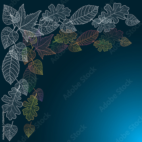 Ornamental background with art autumn leaves.