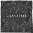 Organic Food Concept set Hand drawn on blackboard vector