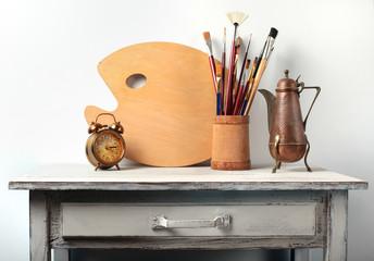 Still-life in studio of the artist