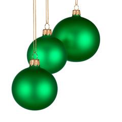 Weihnachtliche Verzierung mit 3 grünen Kugeln