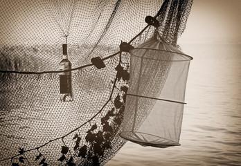 Vintage photo of the fishing net at Lake Balaton, Hungary