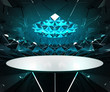 triangulated blue interior lighted structure with oval