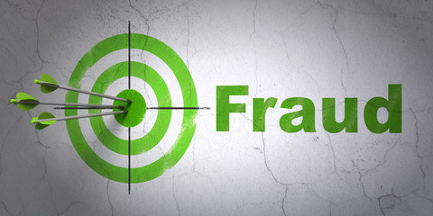 Privacy concept: target and Fraud on wall background