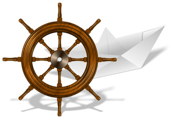 Paper boat and ship wheel