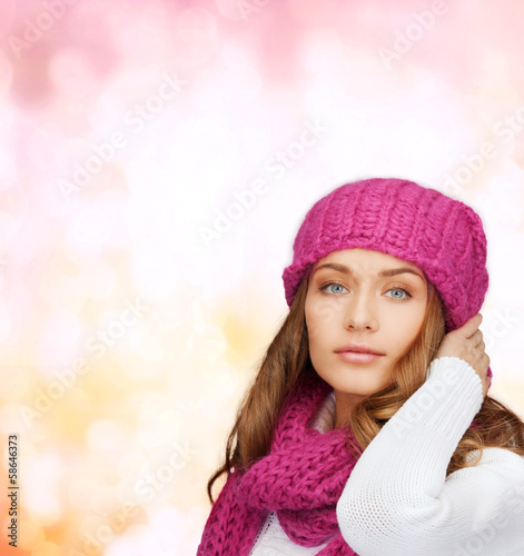 woman in pink hat and scarf