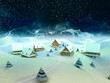 Leinwandbild Motiv Winter village scene with mountains and snowfall