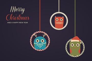 Hanging christmas owls. Vector xmas card