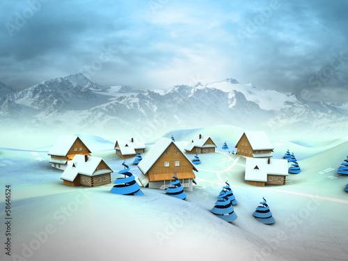 Leinwandbild Motiv Winter village general view with high mountain landscape