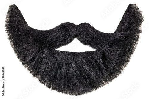 Black beard with mustache isolated on white