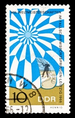 GDR stamp printed in 1966, parachute jumping