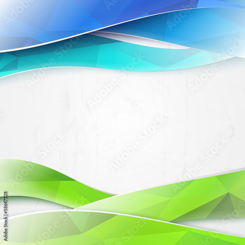 Green triangles and waves on white background