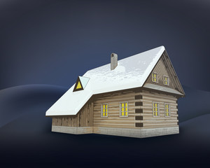 small rural winter wooden cottage at night vector