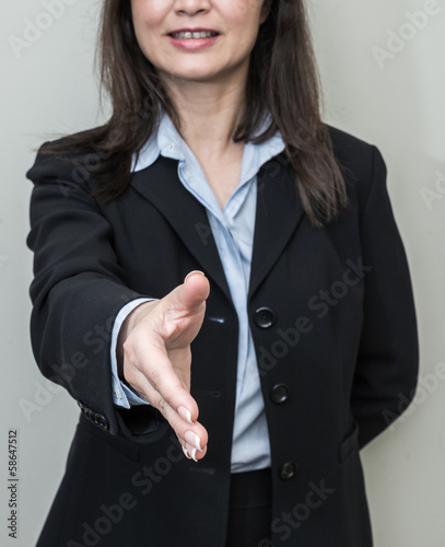 Woman ready for hand shake