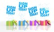 happy present boxes with sign up today icon
