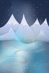 winter mountain scene with snowy hills at night snowfall