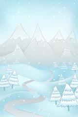 winter landscape with road to mountains and spruce trees