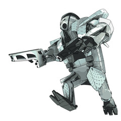 isolated running armored robot campaigner vector 3D model