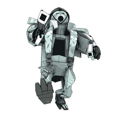isolated armored robot warrior vector 3D model my own drawing
