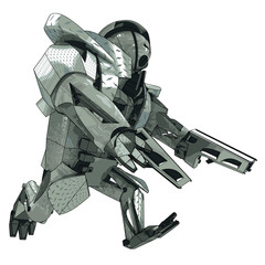 isolated running armored robot warrior vector 3D model