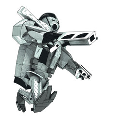 isolated walking armored robot warrior vector 3D model