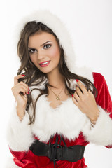 Portrait of sensual woman in Santa Claus costume