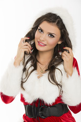 Portrait of smiling flirtatious Santa girl