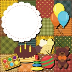 patchwork background with toys